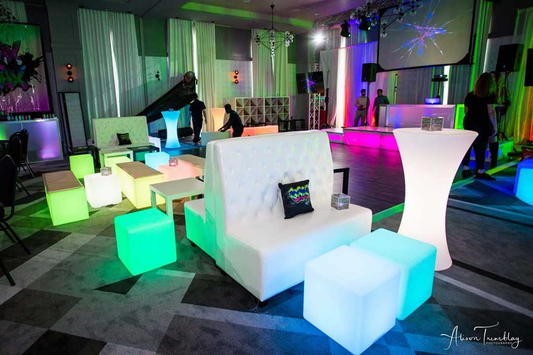 Led And Lounge Furniture Set Up Prior To Event Start