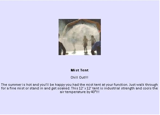 Mist Tent - Rain Room